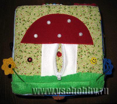 шьем развивающий кубик малышу 3 грань мухомор цветы и божья коровка
