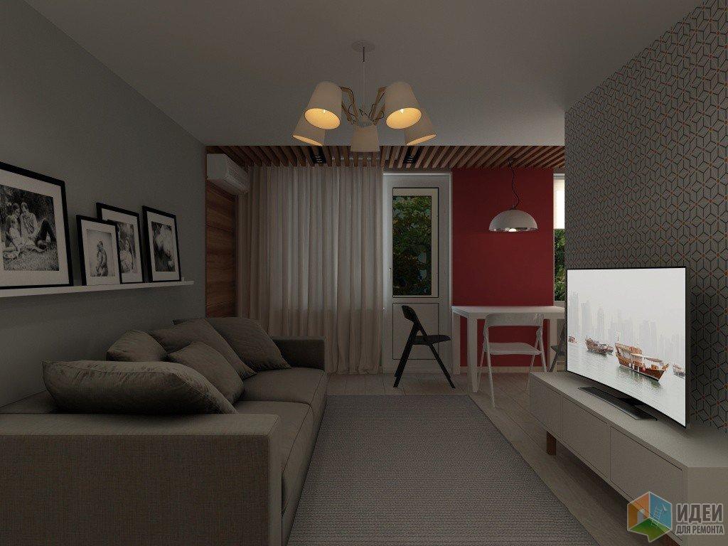 Интерьер гостиной с яркой акцентной стеной