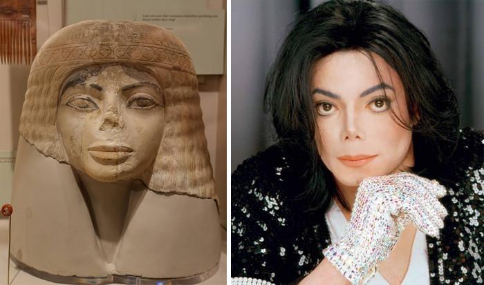 11. Египетский бюст и Майкл Джексон вещи, люди, похожие лица, схожесть