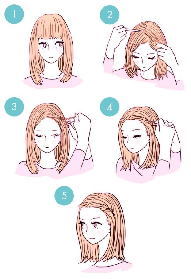 Легкая прическа на средние волосы с челкой своими руками