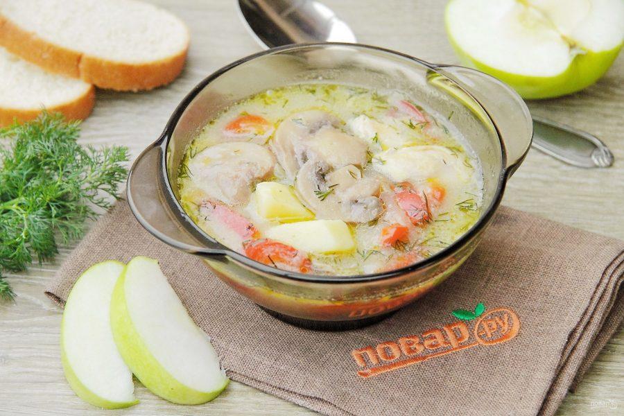 Куриный суп с овощами и грибами