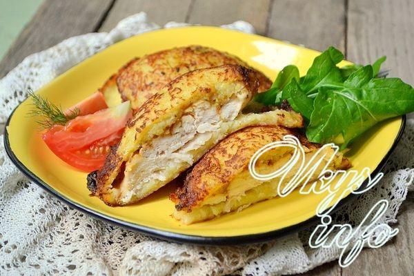 Куриное филе под картофельной шубой в духовке