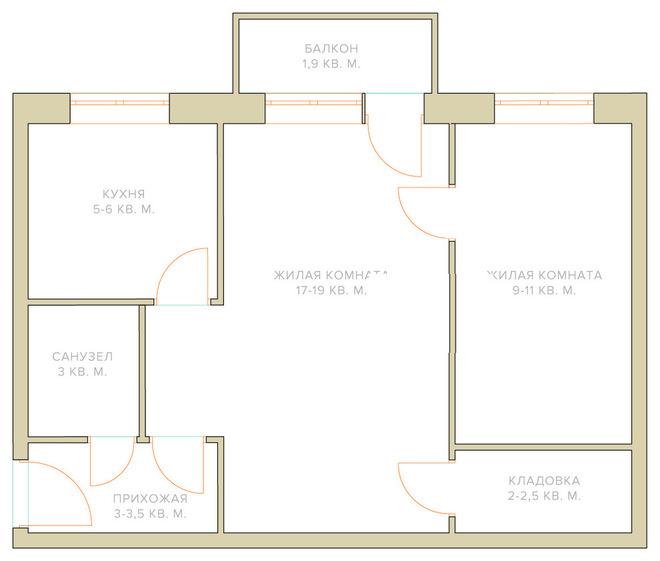 Не ремонт: Четыре варианта расстановки мебели в двухкомнатно.