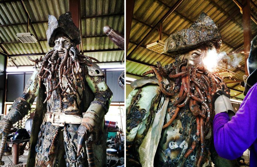Тайский мастер Суджай и созданные им фигуры киногероев из запчастей старых автомобилей. Суджай, фигуры, шедевр