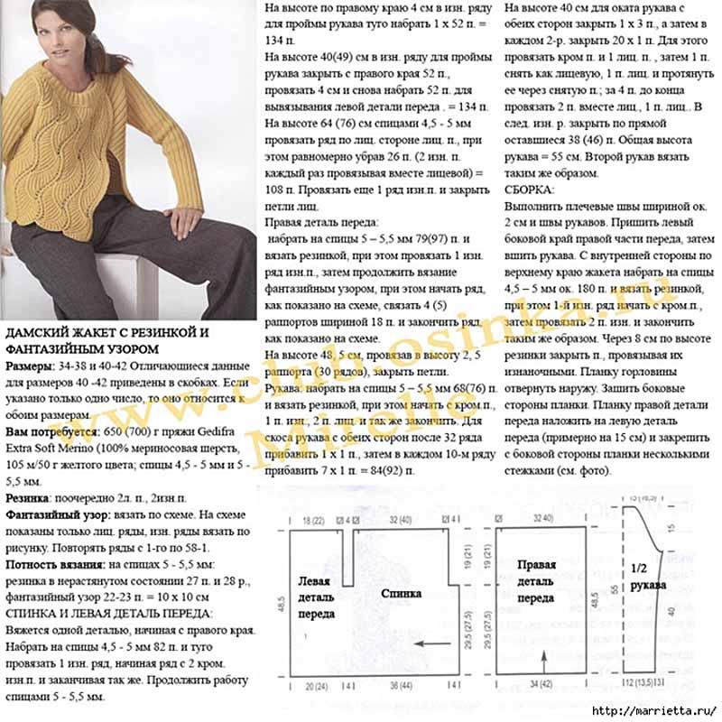 Модные вязанные жакеты схемы