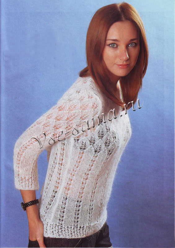 пуловер из мохера схема