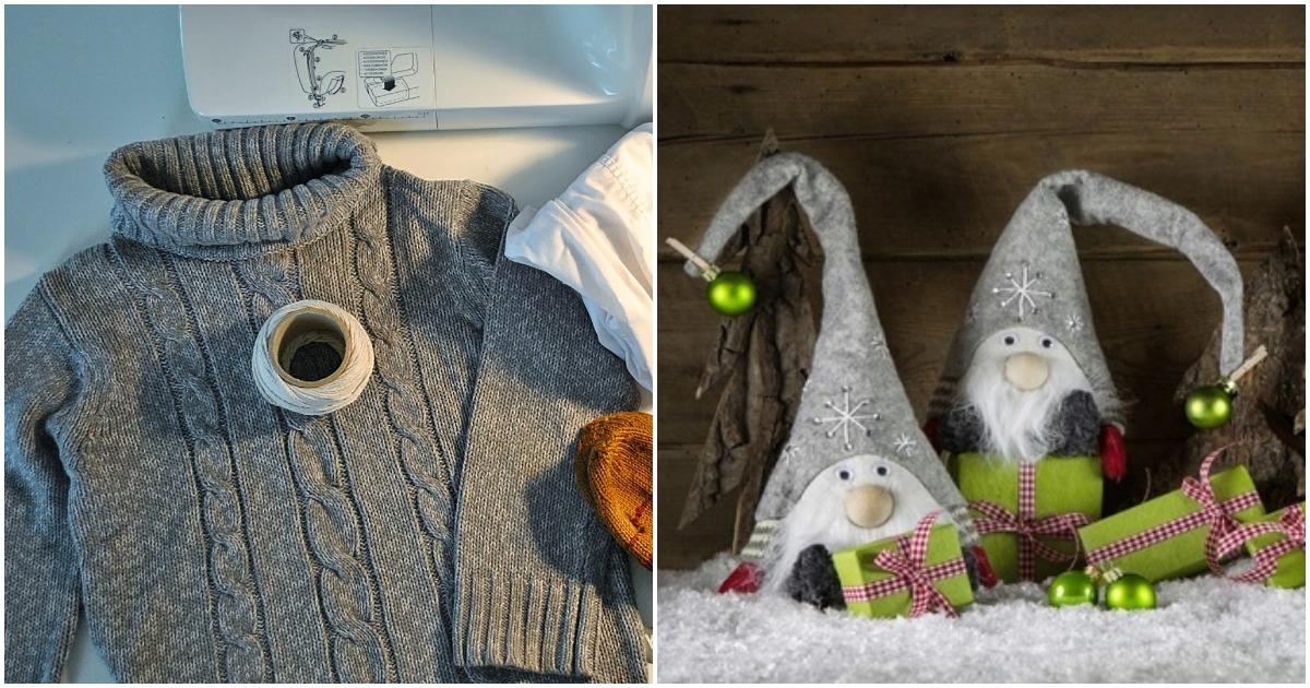 Сказочный новогодний декор. Чудесный гномик из ненужного свитера и капроновых колготок