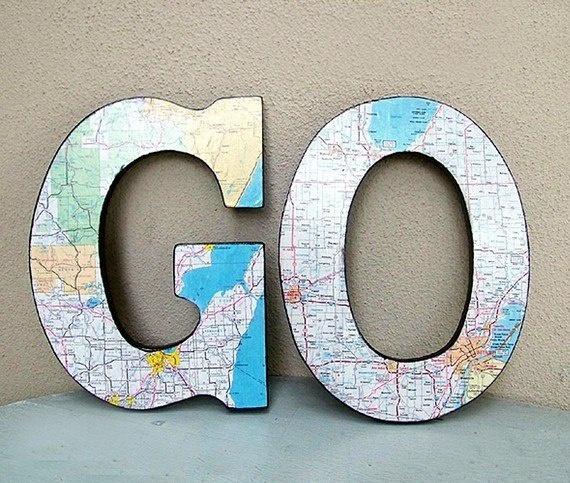 Самые интересные идеи использования в интерьере географических карт - и  букв.