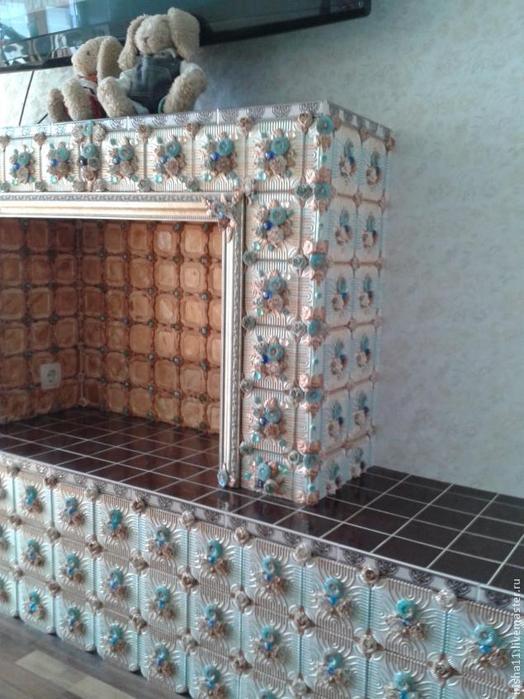 Цветочный фальш-камин из самодельных гипсовых плиток (22) (524x700, 370Kb)