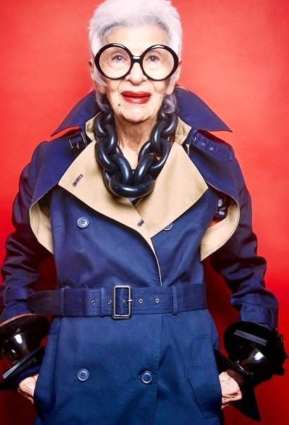 Вызывает уважение:  Айрис Апфель стала лицом  рекламной кампании бренда Blue Illusion в свои 94 года