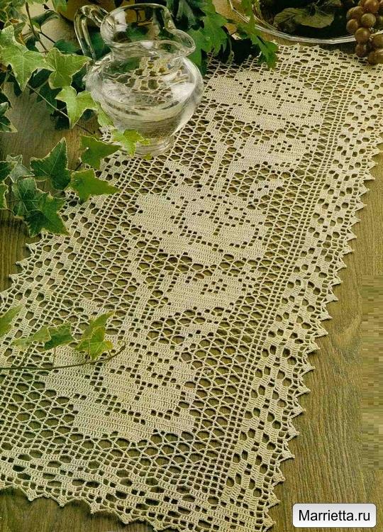 Филейное вязание с розами. Схемы