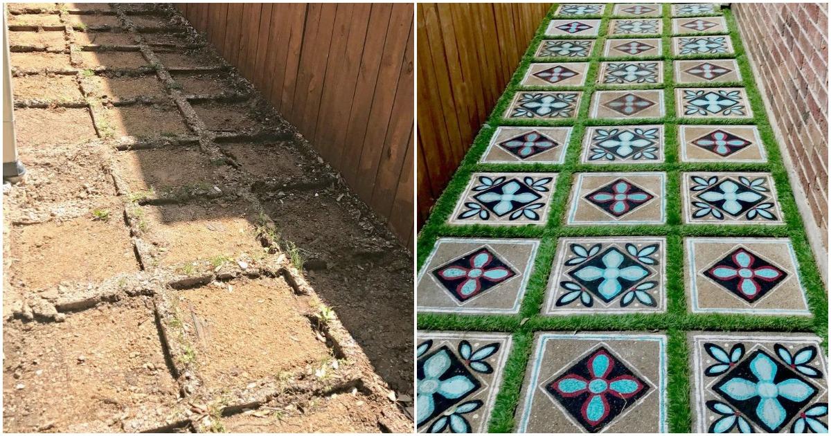 Кто сказал, что бетон должен быть серым? Самодостаточный декор садовой дорожки