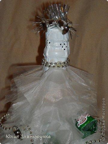 Декор предметов, Свит-дизайн Конструктор: еще одна ёлочка-бутылка. Мини МК Бусинки, Клей, Ткань Новый год. Фото 4