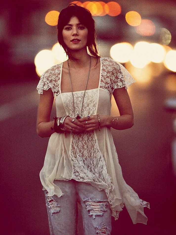 Free People On A Whim Lace Top <a href=