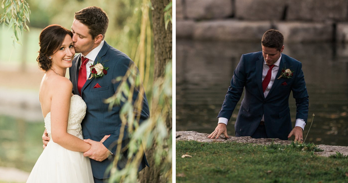 Groom Jumps Into River To Save Drowning Boy, Doesn't Even Take His Suit Jacket Off