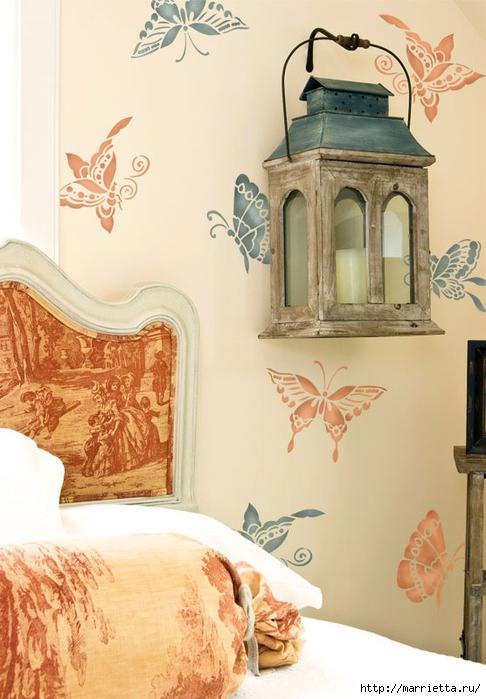 Порхающие бабочки в интерьере. Трафареты для стен и потолка (25) (486x700, 229Kb)