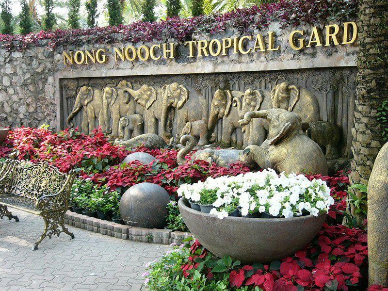 таиланд, сад, скульптуры, композиция, растения, животные, туризм