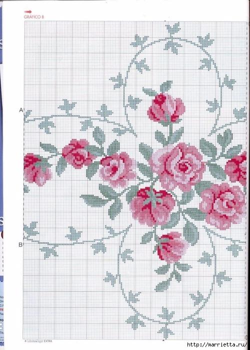 Вышиваем розы на скатерти и салфетках. Схемы (1) (500x700, 276Kb)