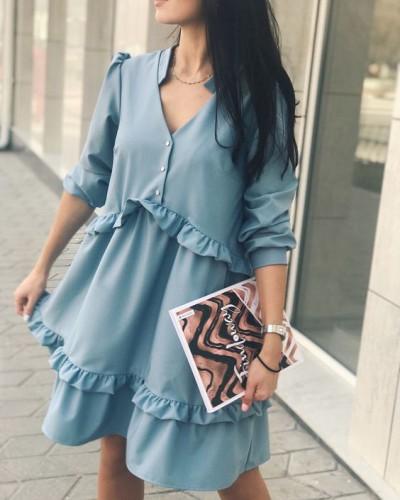 Платье с рюшами и воланами фото