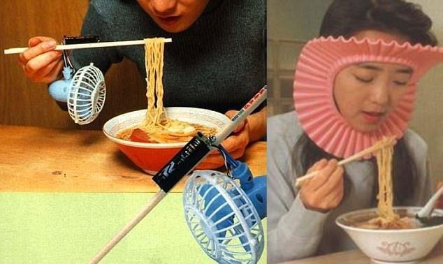 Охладитель для лапши и устройство, удерживающее волосы от попадания в тарелку забавно, изобретатели, изобретения, новые удобства, удивительное рядом, фантазеры, япония, японцы