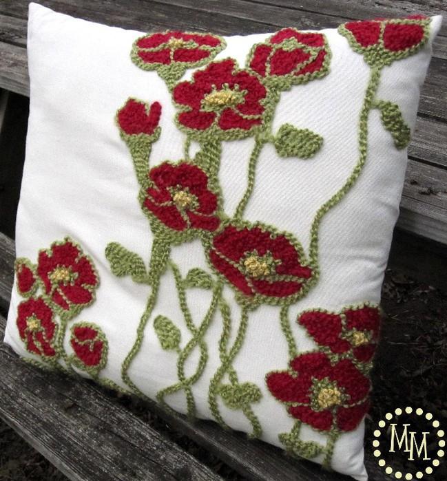 """Красивая подушка с вышивкой """"Маки"""". Небольшой мастер-класс"""
