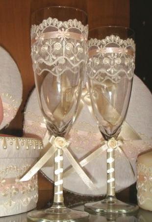 Свадебные бокалы своими руками как сделать