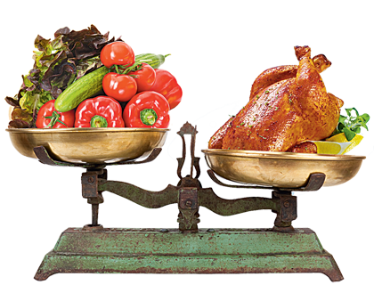 Спор между вегетарианством и мясоедением.