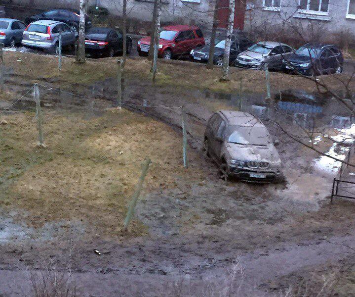 В Петергофе водитель BMW заехал на газон и застрял