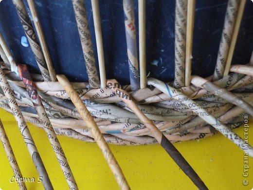 Мастер-класс Поделка изделие Плетение Корзины для овощей - Бумага газетная Трубочки бумажные фото 11
