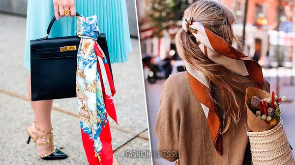 5 способов носить шелковый платок не только на шее, чтобы он стал изюминкой вашего образа