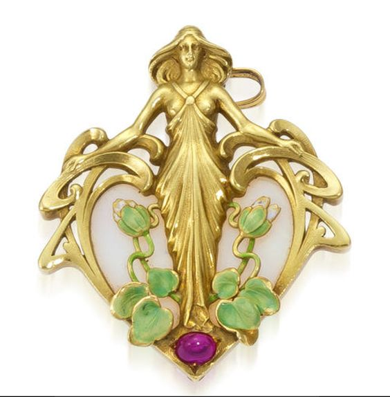 An art nouveau opal, ruby and enamel pendant, French, circa 1900