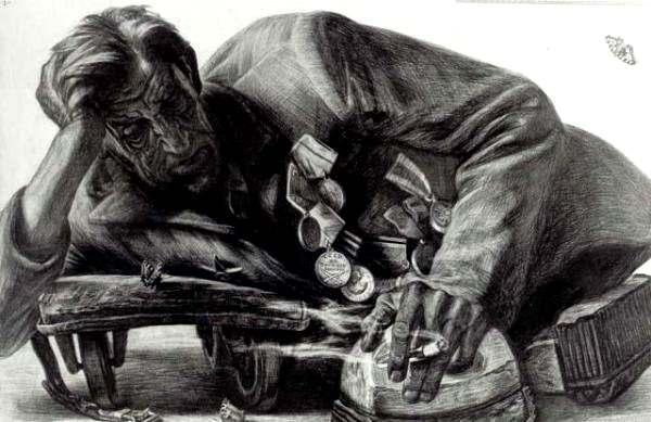 Фото: Портрети фронтовиків-інвалідів.  Художник Геннадій Добров.