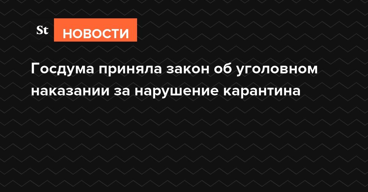 Госдума приняла закон об уголовном наказании за нарушение карантина
