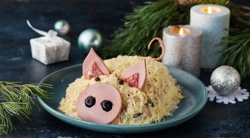 Салат оливье в форме свиньи
