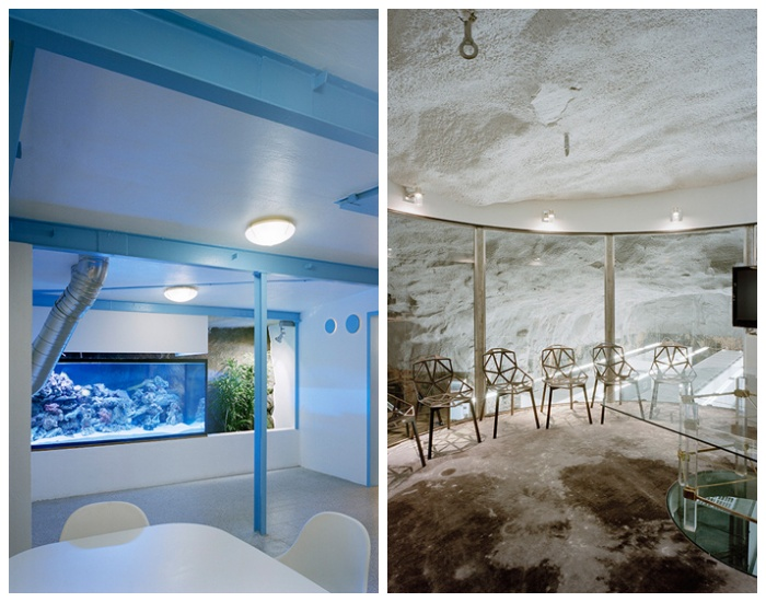 Зона отдыха и конференц-зал в подземном офисе интернет-провайдера Bahnhof Office в Стокгольме (Швеция).