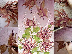 Батик , мои открытия при росписи фона.Советы мастера.Хризантемы и бабочки.