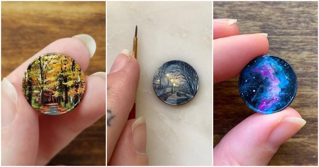 Художница создает крошечные картины маслом на монетах