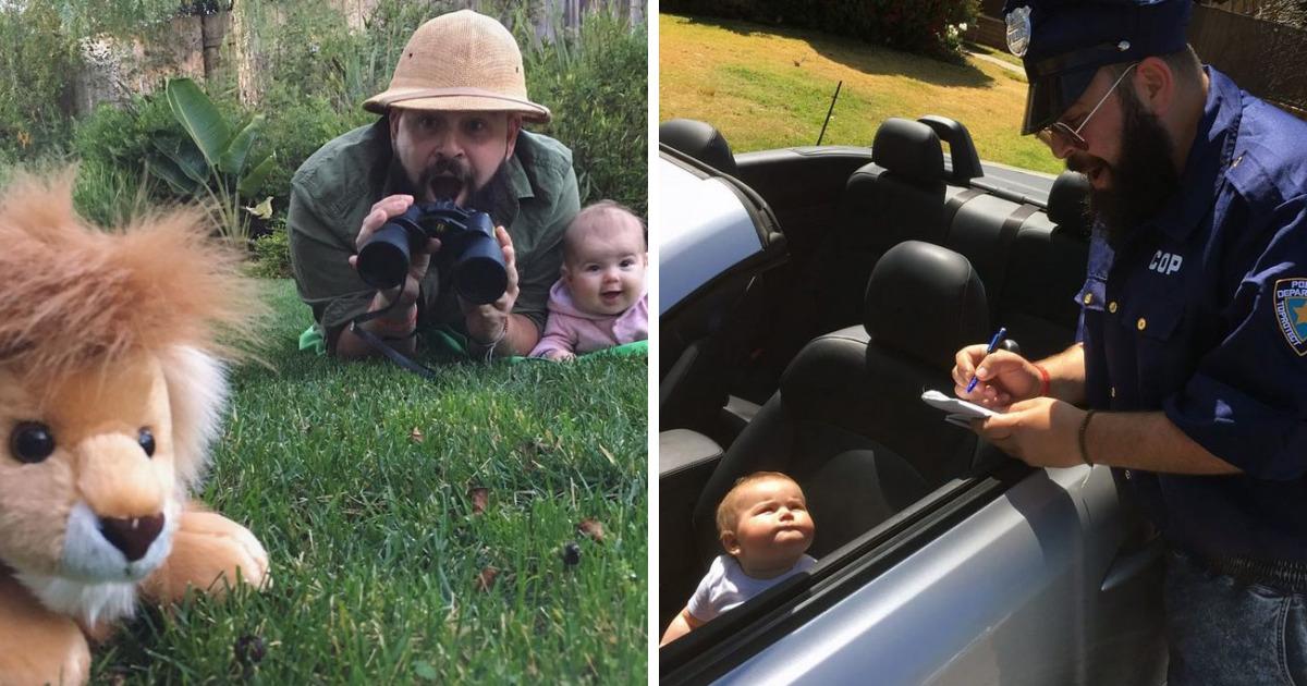 Папа из Колифорнии создает смешные фото со своей 9-месячной дочкой