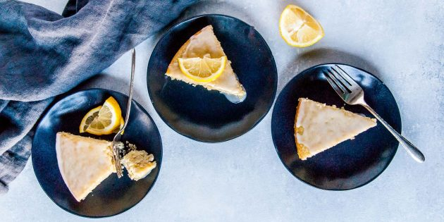 Веганский лимонный пирог с глазурью