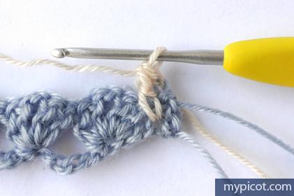 Необычный многоцветный узор крючком. МК