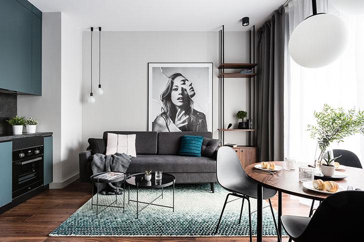 Небольшая современная квартира с отдельной спальней в Гданьске (38 кв. м)