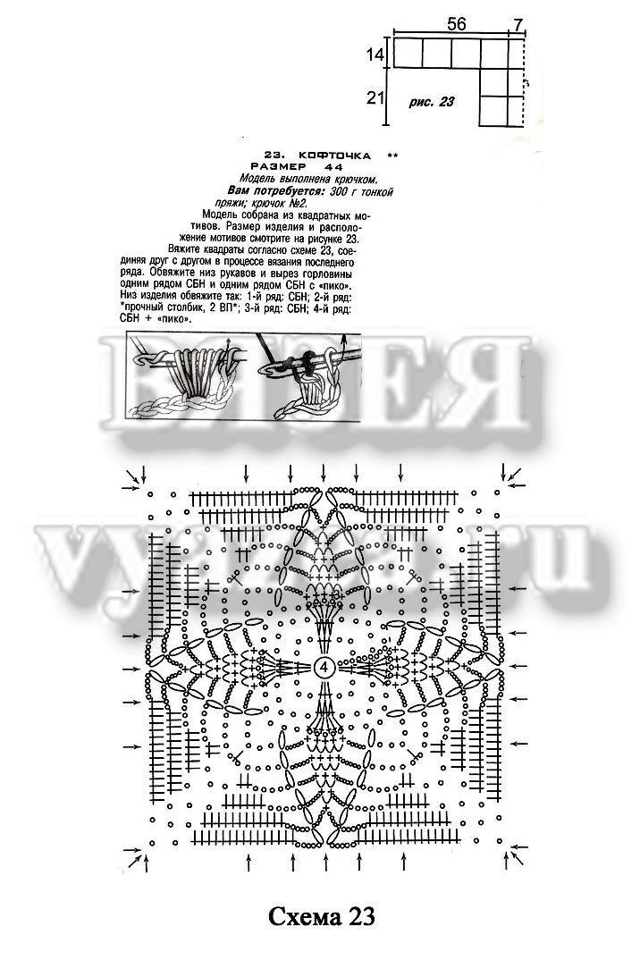 Кофта крючком, собранная из квадратных мотивов