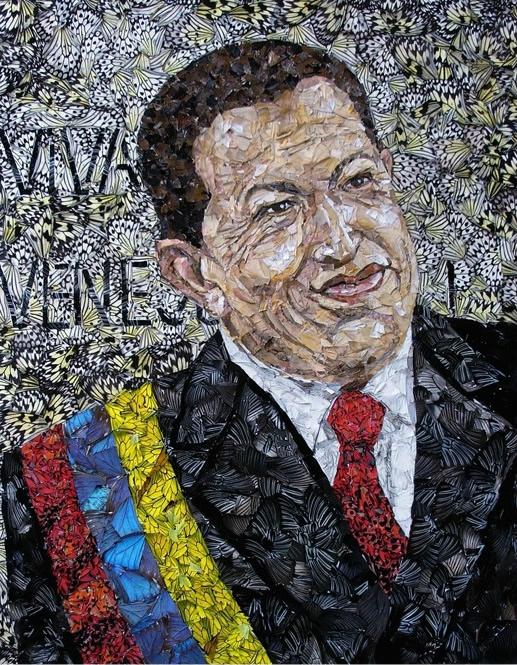Портрет Уго Чавеса  из крыльев бабочек