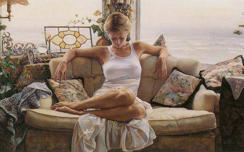Безусловно, женщины в искусстве Стива Хэнкса — главные. И мы уверены, что он сделал правильный выбор Стив Хэнкс, акварель, девушки, искусство, красота, рисунок, художник