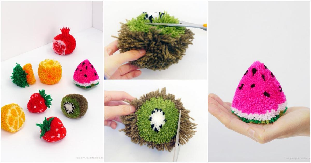 Необычные помпоны в форме фруктов: оригинальный декор своими руками