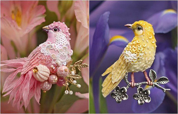 Волшебные птички из шёлка, бисера, пайеток и страз