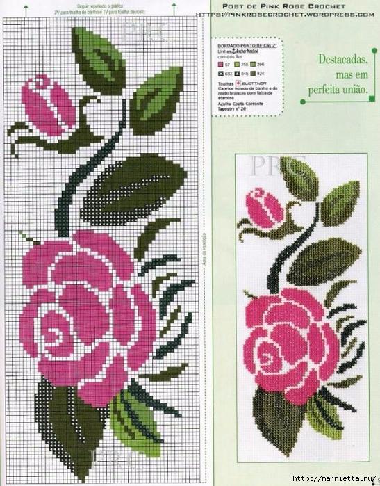 Вышиваем розы на скатерти и салфетках. Схемы (18) (547x700, 350Kb)