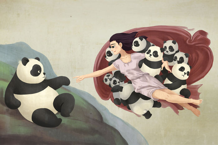 10+ Famous Paintings That Look Better With Pandas