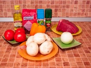 Горшочки с мясом, фасолью и грибами. Ингредиенты