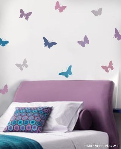 Порхающие бабочки в интерьере. Трафареты для стен и потолка (12) (405x500, 64Kb)